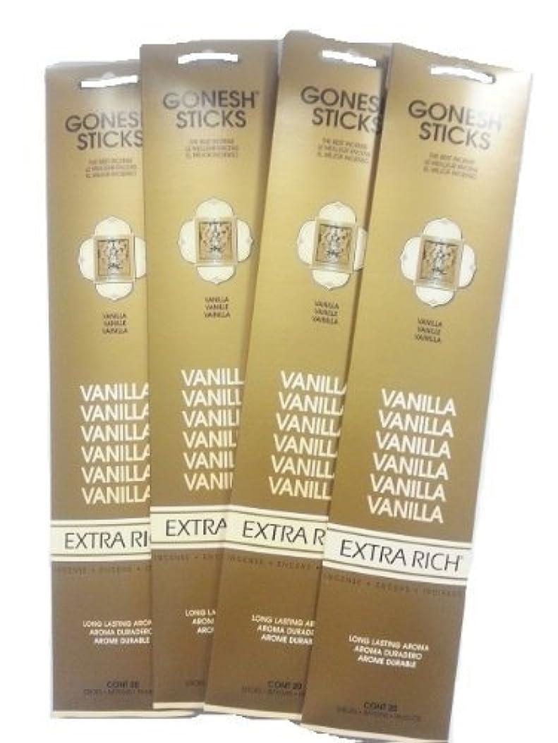 豚肉ふくろうほのかGonesh Incense Sticks - Vanilla lot of 4 by Gonesh [並行輸入品]