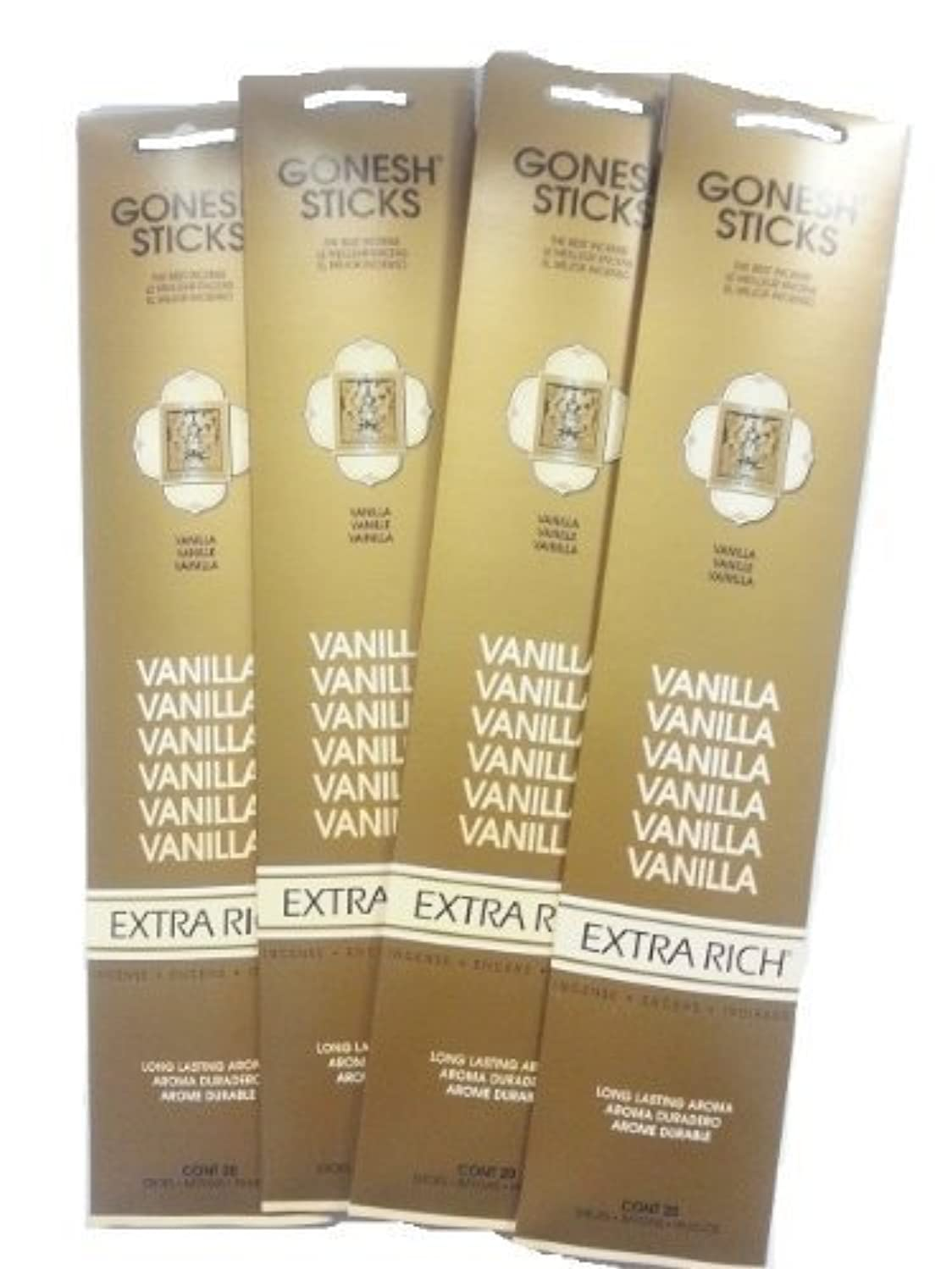 定規拾うキーGonesh Incense Sticks - Vanilla lot of 4 by Gonesh [並行輸入品]