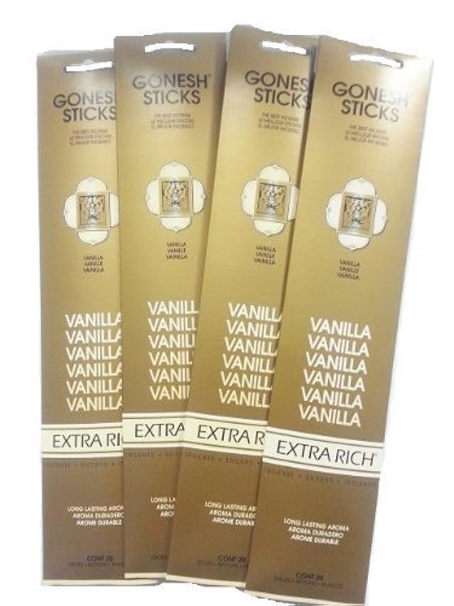 孤独なスイス人回復するGonesh Incense Sticks - Vanilla lot of 4 by Gonesh [並行輸入品]