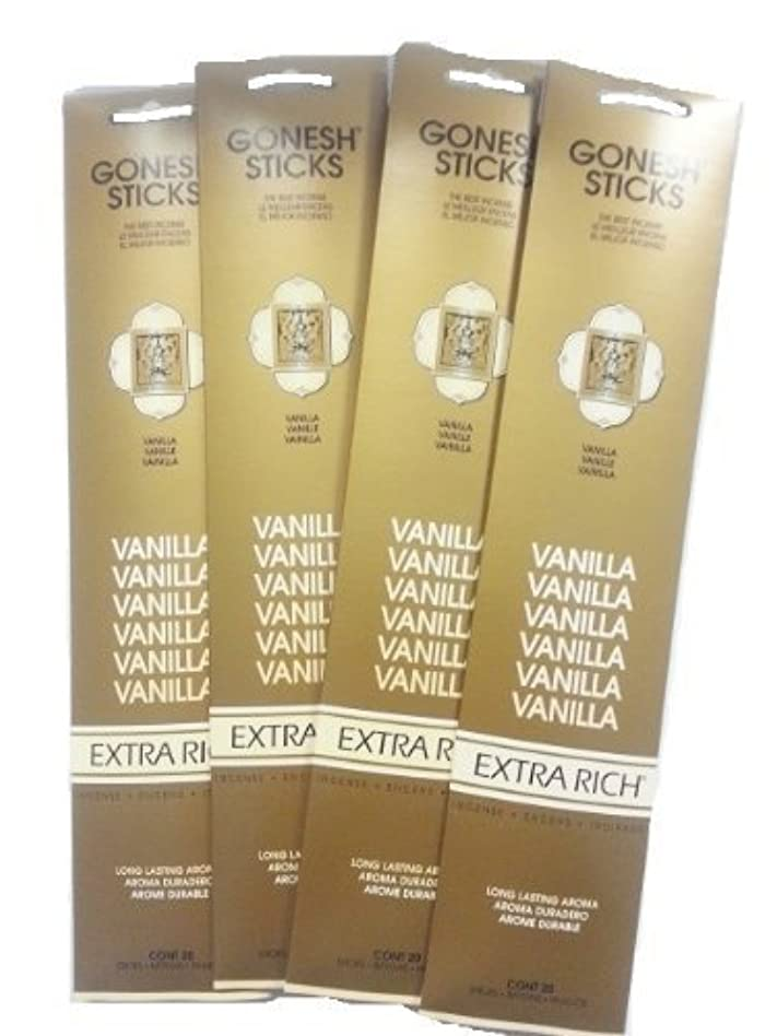 水を飲む文化プレミアGonesh Incense Sticks - Vanilla lot of 4 by Gonesh [並行輸入品]