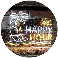 Happy Hour Relax Beach Sun Bar Dual Color LED看板 ネオンプレート サイン 標識 白色 + 黄色 400 x 300mm st6s43-i2558-wy