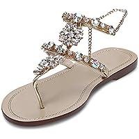 Women's Wedding Sandals Crystal Rhinestone Beaded Bohemian Dress Flip-Flop Gladiator Shoes