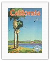 カリフォルニア - サンタフェ鉄道 - ビンテージな鉄道旅行のポスター によって作成された オスカー・M・ブリン c.1950s - キャンバスアート - 28cm x 36cm キャンバスアート(ロール)