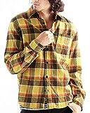 チェック柄ネルシャツ チェックシャツ 長袖 オンブレ メンズ カジュアル Lサイズ 12イエロー