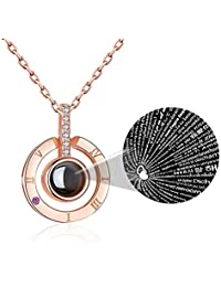 Womens Pendant Necklace The Memory of Love Projective Necklace 100 Different Languages for I Love You Nanometer Engraving Necklace Jewelry (Rose Gold)