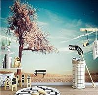 Lcymt 美しい秋の枝青空風景リビングルームの背景壁布カスタム3D壁紙壁画-280X200Cm