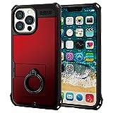 エレコム iPhone 13 Pro Max ハイブリッドケース ZEROSHOCK リング付き レッド PM-A21DZERORRD