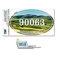 90063 ロサンゼルス市, CA - 緑緩やかに起伏している丘陵 - 楕円形郵便番号ステッカー
