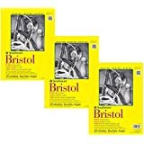 """Strathmore 342-109 300 Series Bristol Vellum Pad, 9""""x12"""" Tape Bound, 20 Sheets (3 Pack) Bundle with Pencil, HB"""