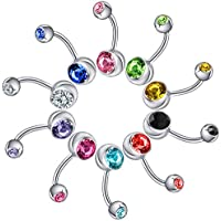 ModestLuxury Belly Button Ring with Double Crystal Gem Balls Navel Ring Body Piercing Jewelry