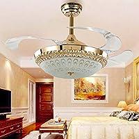 シーリングファンライト 暗黙の形 リモコン付き 天井ファンライト ミュート LED 36W 三色調光 アクリル ファンブレード 5.8×1.07m (ゴールド A2)