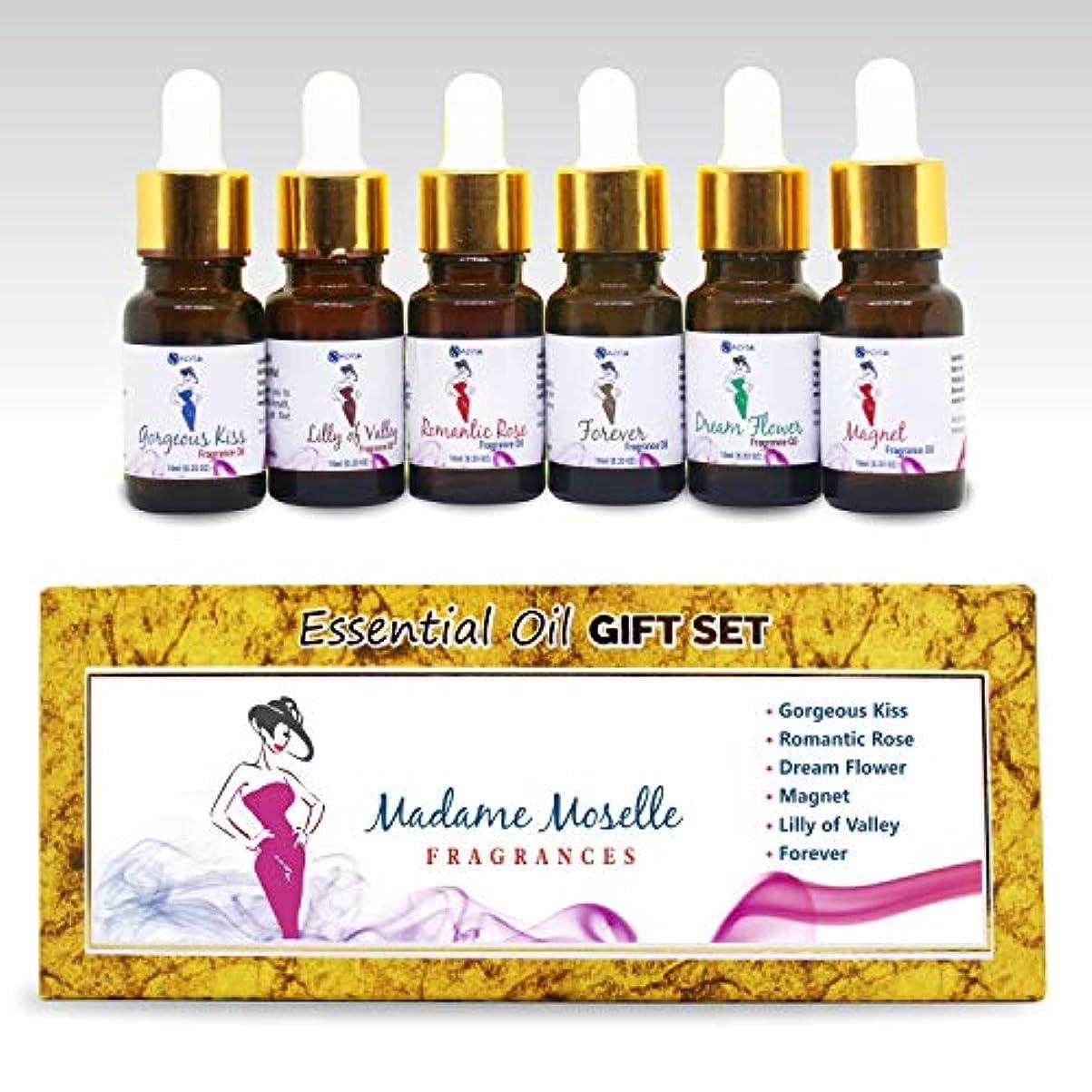 立法テセウスアサートAromatherapy Fragrance Oils - Pack of 6 Essential Oils Pure & Natural Therapeutic Oils - 10 ML Each (Gorgeous kiss, Romantic Rose, Dream Flower, Magnet, Lilly of Valley, Forever) Madame Moselle Set