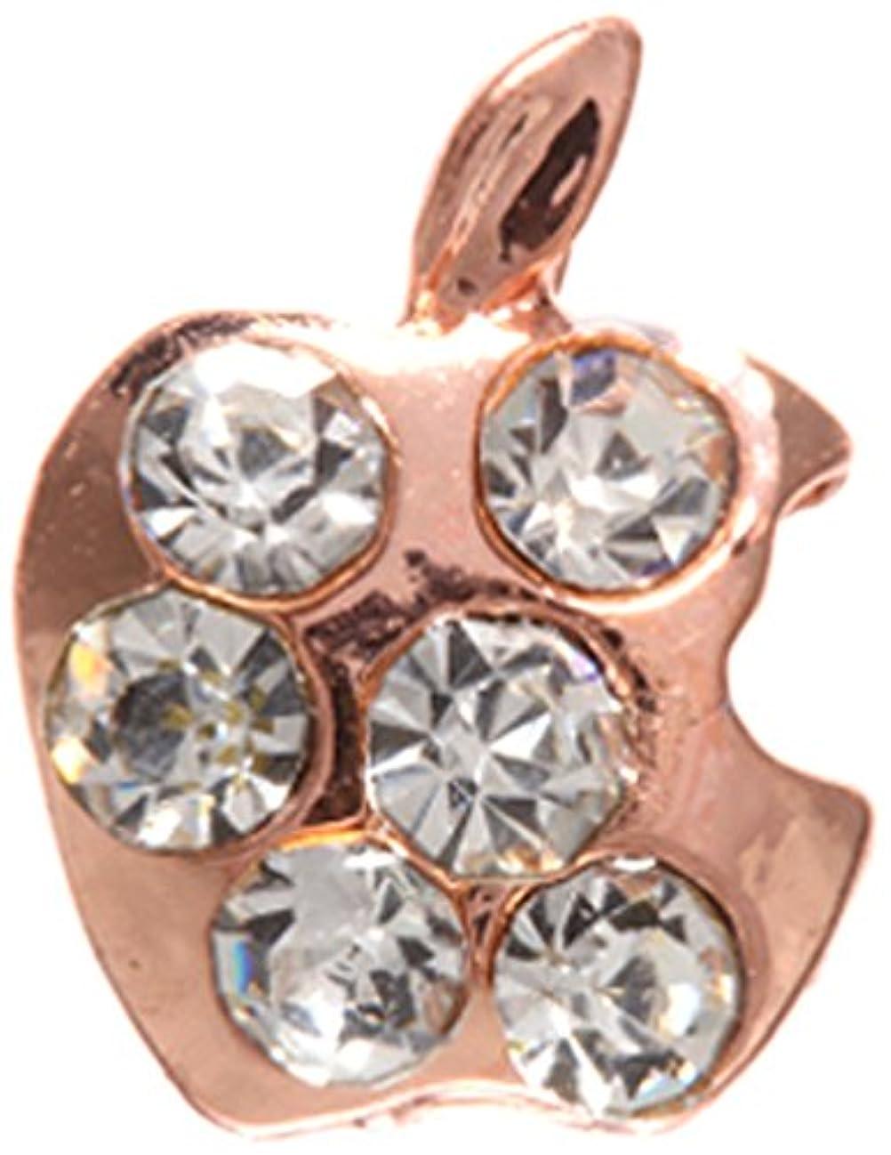 傷つきやすい思慮深い飢饉アップル クリスタル(各2個) ピンクゴールド