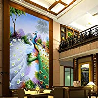 Xbwy 写真の壁紙カラーピーコック3D壁画ホテルのロビーリビングルームエントランスの廊下インテリアの装飾自然の壁紙不織布壁画-120X100Cm