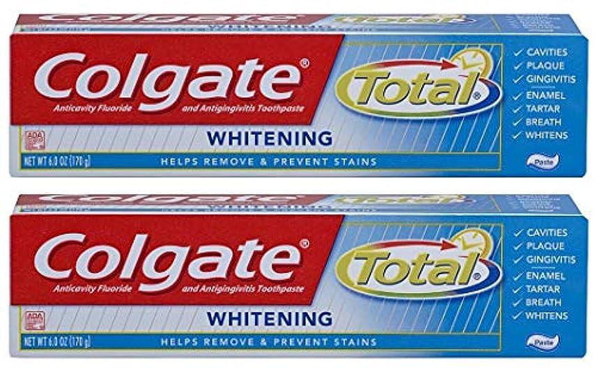 進行中ライン筋Colgate トータル歯磨き粉ホワイトニング - 6オズ、2パック