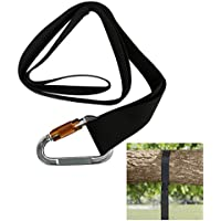 Luker Tree Swing Hanging Tie Strap Kit - 1000 lbs Load Capacity Grade Single Nylon 5 Foot Strap with Extra Strong Steel Lock Carabiner Hook by Lukher