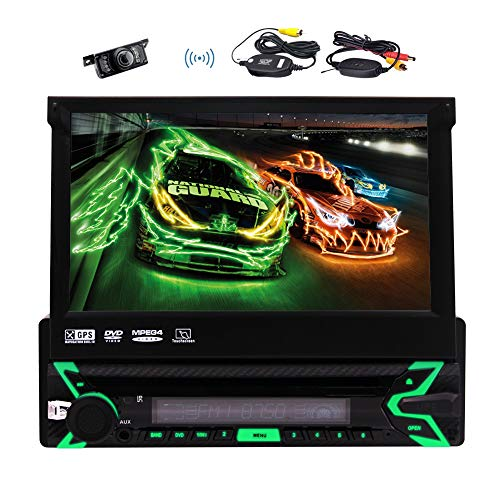 Wireless Camera Included! Eincar Single Din Head Unit 7 Inch Car Stereo with Two UIs Support GPS Sat Navigation, DVD CD Player, Bluetooth, FM AM, SWC, USB SD, Colorful Button + Card and Remote Control