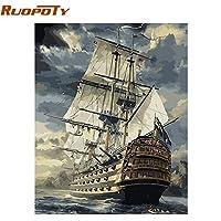Klaxiaz(TM) 数字でセーリングボート風景DIYの絵画は、ホームの壁アートピクチャー40x50cmアートワークヴィンテージ油絵を手描き