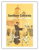 南カリフォルニア - ユナイテッドエアラインズ - スペインのミッション、パドレ摂食鳥 - ビンテージな航空会社のポスター によって作成された スタン・ガリ c.1950s - アートポスター - 51cm x 66cm