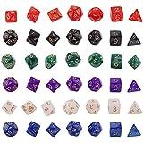 ダイス 六色多面体ダイス 多面体 サイコロ ダイスセット ボードゲーム カー ドゲーム 用 6色 42個 セット 1色7個 収納袋付き