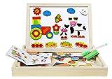 パズル 赤ちゃん 幼児 木のおもちゃ 3歳 4歳 5歳 マグネットボード 知育玩具 絵かきボード 落書き 誕生日プレゼント 新年 クリスマス 男の子 女の子 子供用パズル 面白い 学習 認識力 創造力 約95ピース カラフル 絵 人物 キャラクター 動物 内容豊富