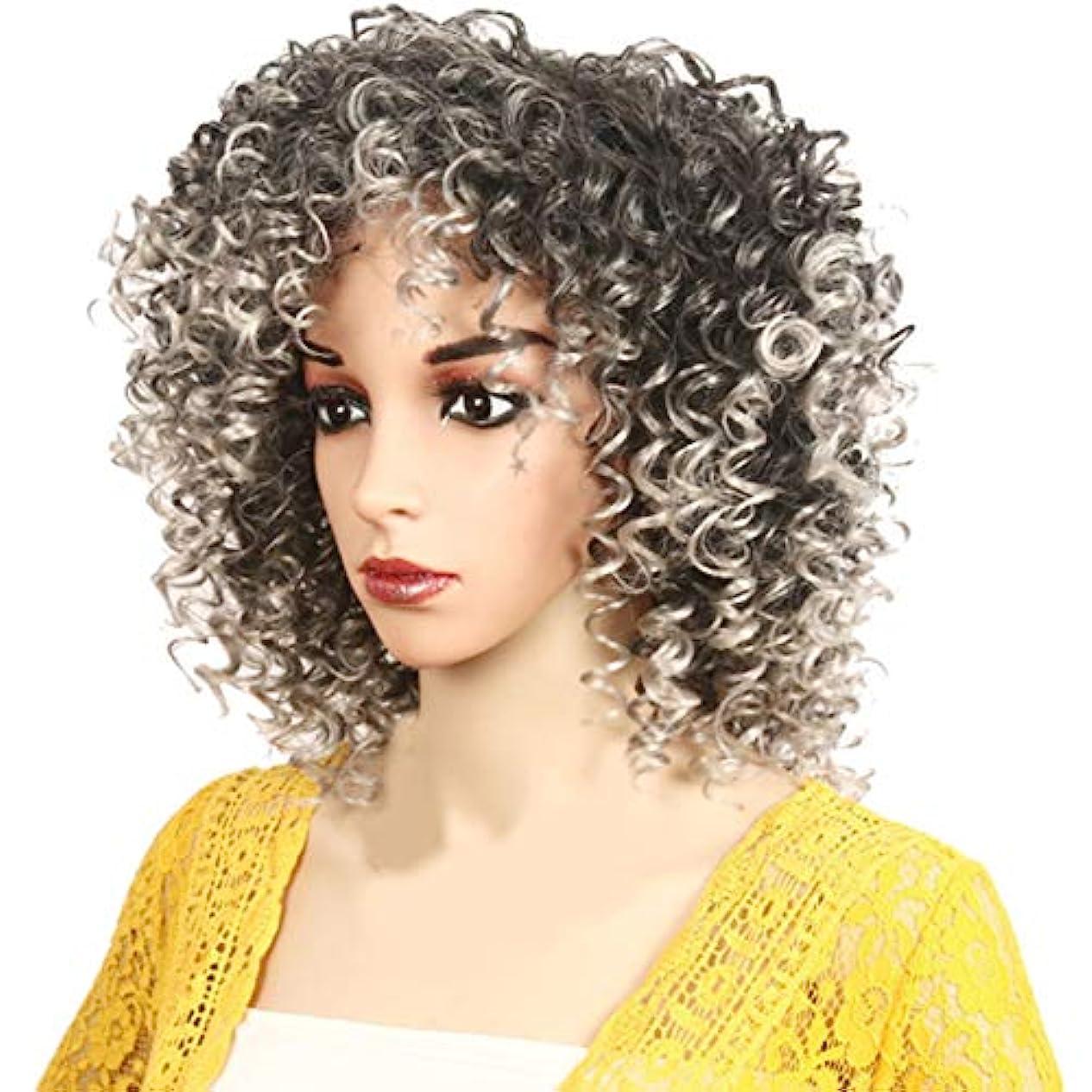 サイレントアロング愛人アフリカの黒人女性のかつら短い巻き毛のかつらふわふわ自然は低温二次形状で矯正することができます,Gray