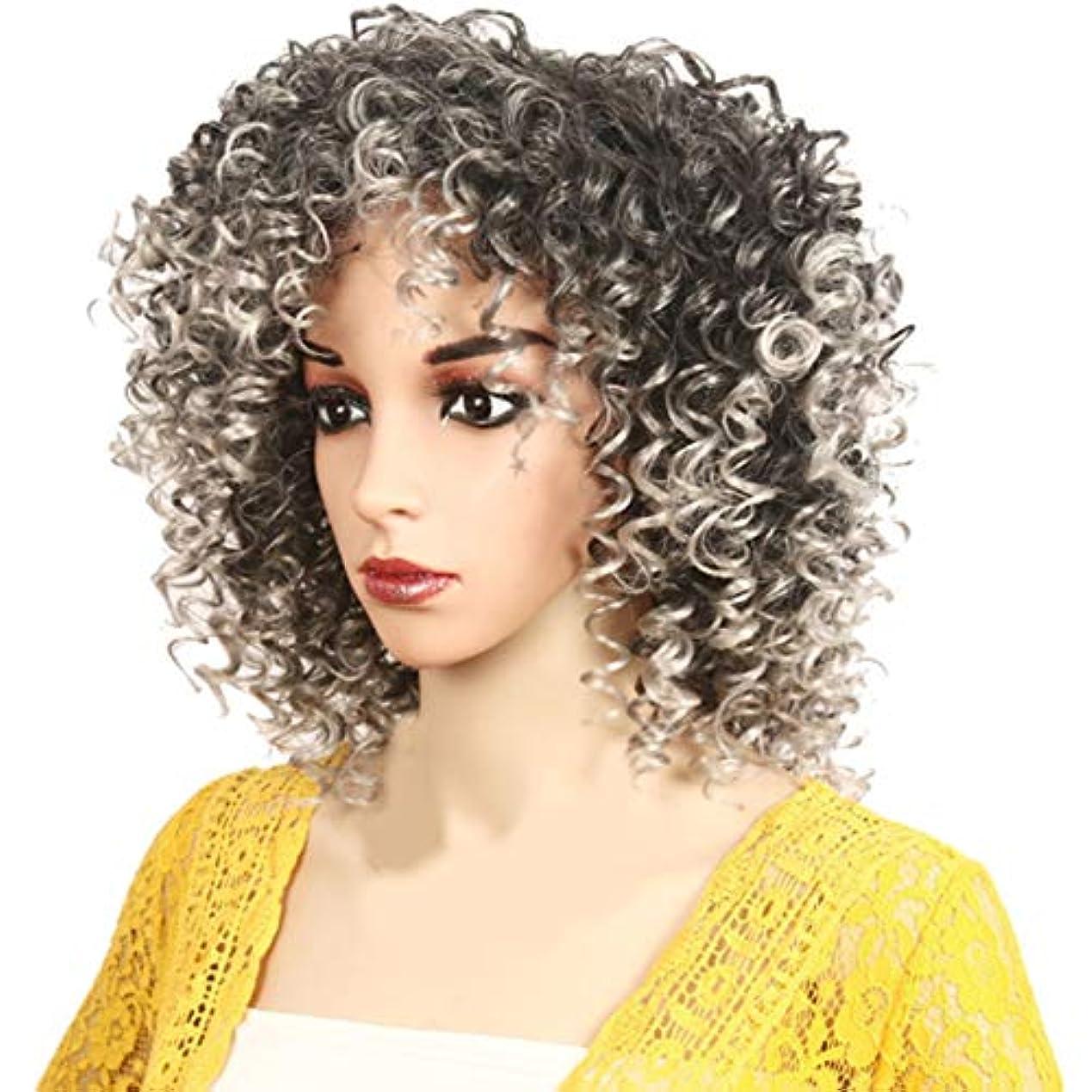 忠実に浮く包帯アフリカの黒人女性のかつら短い巻き毛のかつらふわふわ自然は低温二次形状で矯正することができます,Gray