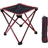 アウトドアチェア折りたたみ椅子コンパクト イス 持ち運び キャンプ用軽量 収納バッグ付き 折りたたみチェア レジャー 背もたれなし (赤)