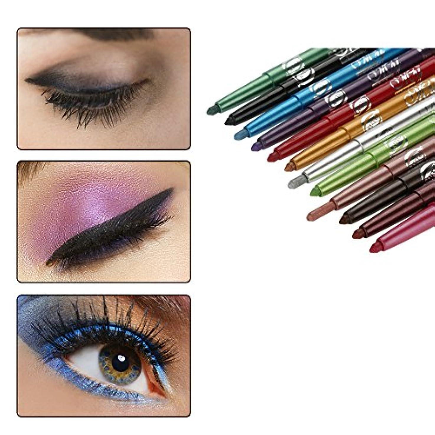 湿ったリード打ち負かす12色のアイシャドーアイライナー リップライナーペンシル 化粧ペン メイクアップセット 防水 長持ち 人気