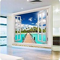Weaeo 写真の壁紙高品質の3D壁紙自然のビーチオーシャンビューのウィンドウ青空の雲大きな壁の壁紙の壁紙-450X300Cm