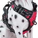 PoyPet 2018犬ハーネス 首輪 胴輪 大型犬 ソフト 安全 簡単着脱 咳き込み軽減 調節可能 反射材 引っ張り防止 車載功能 耐久性 老犬 歩行補助 しつけ用 散歩用 軽量 通気 ハンドル付き(L レッド)