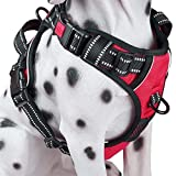 PoyPet 2018犬ハーネス 首輪 胴輪 小型犬 ソフト 安全 簡単着脱 咳き込み軽減 調節可能 反射材 引っ張り防止 車載功能 耐久性 老犬 歩行補助 しつけ用 散歩用 軽量 通気 ハンドル付き(S、レッド)