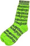 ネオンカラー 楽譜 靴下 緑 黄色 オレンジ Neon Socks with Black Sheet Music - Ladies Size 9-11 (緑)