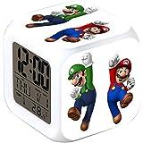 ASLNSONG Super Mario Bros 7 Colors Change Digital Alarm Clock with Time, Temperature, Alarm, Date (A)