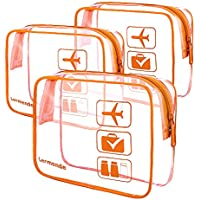 (Orange) - 3pcs Lermende Clear Toiletry Bag TSA Approved Travel Cosmetic Makeup Bags Luggage Carry On Airport Airline Compliant Bags (Orange)