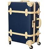 FIELDOOR ヴィンテージ風 トラベルキャリーケース スーツケース Mサイズ (ブルー) 【ファスナータイプ】