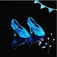elegantstunning クリスタルシューズ 12ファッションかわいいプリンセスバービー人形ハイヒールドレスポンプ妖精物語の靴 ブルー
