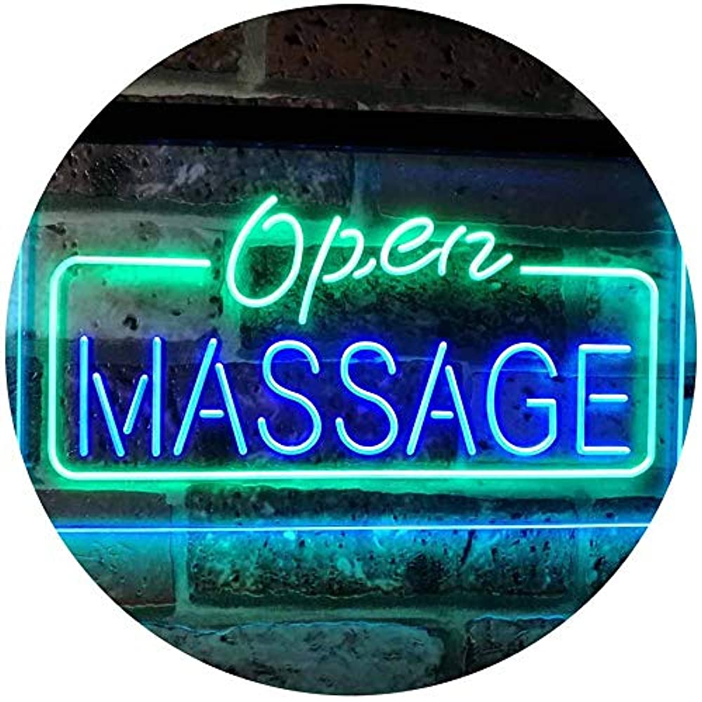 療法タイトル代わってMassage Therapy Open Walk-In-Welcome Display Body Care LED看板 ネオンプレート サイン 標識 Green & Blue 400mm x 300mm st6s43-...