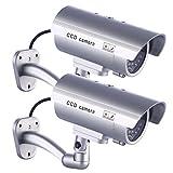 IDAODAN、偽のCCDセキュリティカメラ、防水、点滅する赤色LEDライト付き、シルバー、シルバー、JY-HM-001P2-1