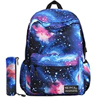 Galaxy School Backpack, SKL School Bag Student Stylish Unisex Canvas Backpack Book Bag Rucksack Daypack for Teen Kids (Blue with Pencil Bag)