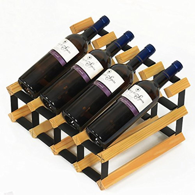 ワインラック ソリッドウッド+冷間圧延テーブルトップワインレッド/ウッド/エレガントホワイト/オールドカラーフリーインストール強力なベアリング容量8本赤ワインクリエイティブウッドディスプレイスタンド (色 : Natural wood color)