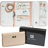 Jewellery Organizer Travel Bag Case, Travel Jewellery Roll - Gifts for Women, Jewelry Storage for Necklaces, Earrings, Bracelets, Rings - Pink (Rose Gold Glimmer)