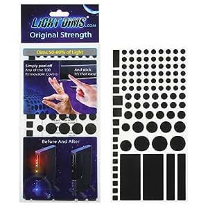 もう、まぶしくない LED減光シール ブラック カット済 (50-80%) 米国LightDims(ライトディムズ)社製 #13120