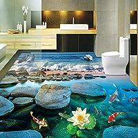 山笑の美 フロアステッカー 壁画 壁紙 フレスコ画 立体ビーチウェーブ接着剤防水-200X150CM