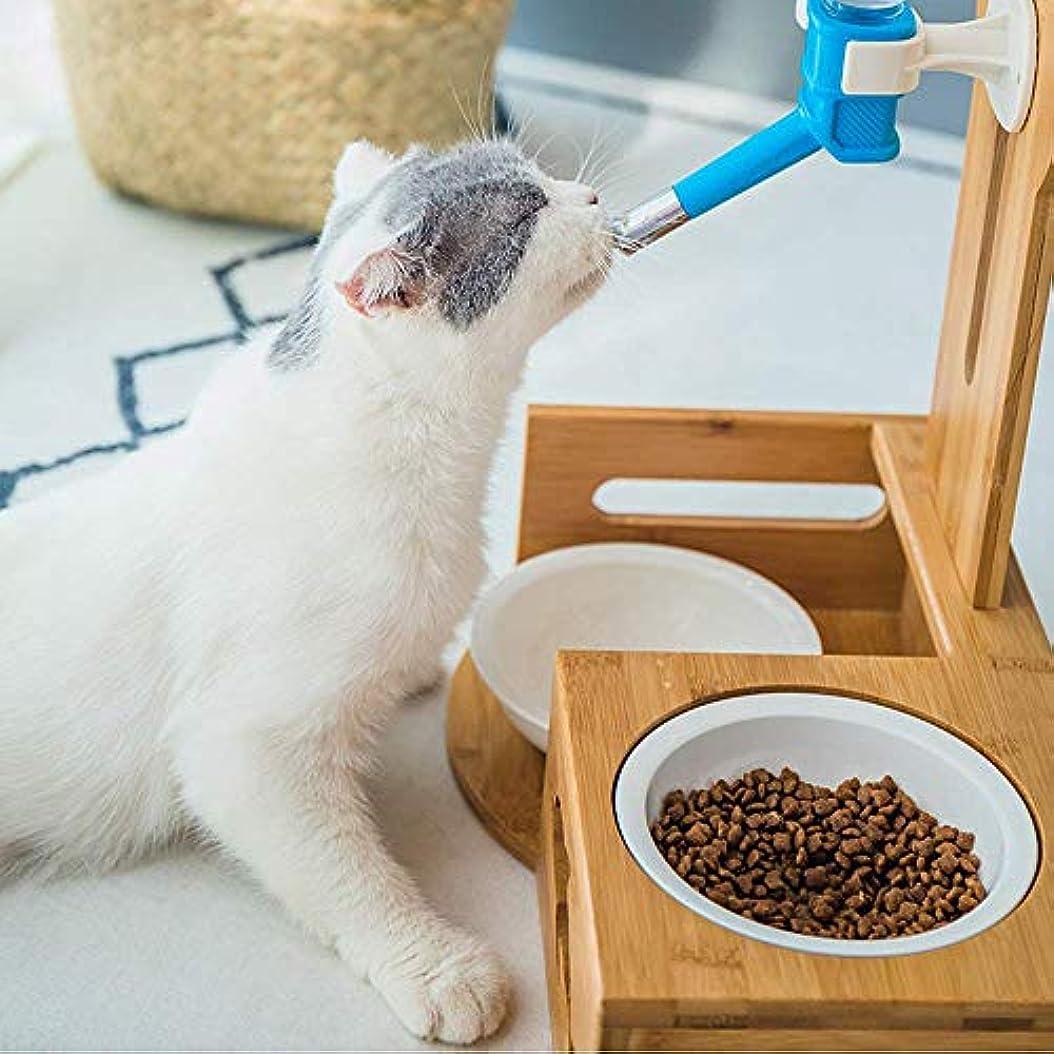 猫犬自動飲む噴水垂直竹ペット水ディスペンサーぶら下げRiceボウル小容量耐久性-Woodcolor-32*18*38cm