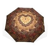 AOMOKI 折り畳み傘 花 ハート 薔薇 カラフル ブラック 手開き 三つ折り 梅雨対策 軽量 防雨 雨具 耐強風 8本骨