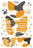 【ネコプロ】 猫パッチン ( 三毛 柄)  障子 や 襖 の補修にも使える 和風 ステッカー ネコ好きにはたまらないよね 【 Overseas Delivery 】