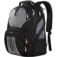 Travel Laptop Backpack, Large Computer Backpack Bag Fits 17 inch Laptop for Men Women for Hiking/School/College, Anti Theft Water Resistant TSA Smart Scan Laptops Bookbag with USB Charging Port-Black