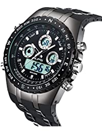 メンズスポーツ時計日常的な防水ファッション屋外アナログデジタルディスプレイ電子軍事バックライトマルチファンクションウォッチ