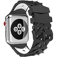 Apple Watch 用バンド - ATiC アップルウォッチバンド 38mm 40mm Apple Watch Series 4/3/2/1用 シリコン製腕時計ストラップ/バンド/交換ベルト + バンドアダプター/交換ラグBlack + White(42mm 44mmに対応ない)